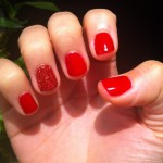 "Shellac Manicure with ""Rockstar"" on the ring finger"